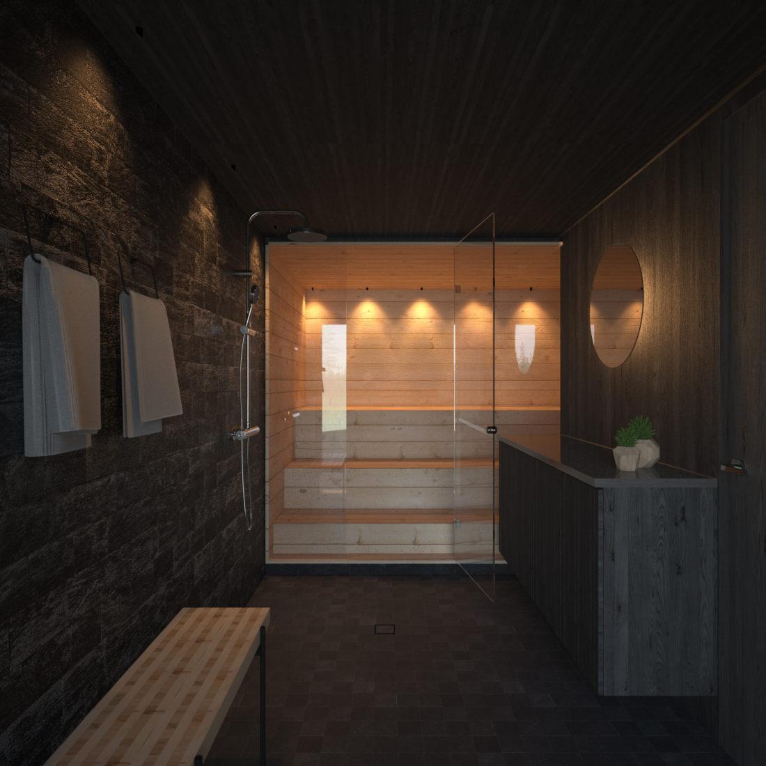 sauna interior render